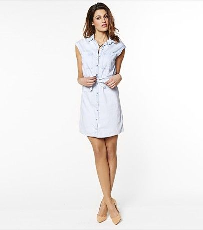 Pair this light wash denim shirt dress with wedges and a long necklace for the perfect summer look.