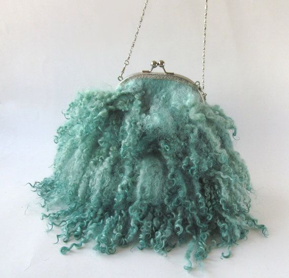 Small mint purse Felted purse Curly  handbag, Small  purse, Mint Fringes bag , Real  Fur  handbag,   fringe felt fur, curly wool locks
