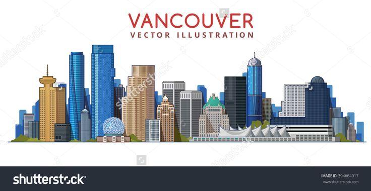Vancouver City Skyline Design. Canada Stock Vector Illustration 394664017 : Shutterstock