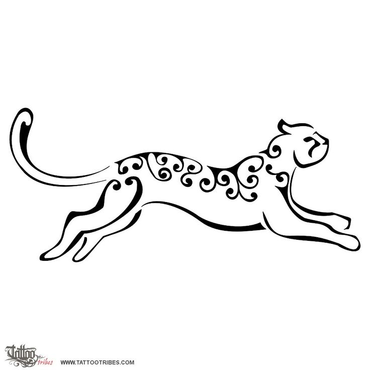 """From Tattoo Tribes """"Leaping leopard  Dangerous elegance  Leopards are among the biggest felines, and among the most used as a symbol of regality and power, appearing on this account on many ancient coats of arms.  Many cultures consider them companions of shamans and leopard-men are held as men of magic and powers.  Karra requested a stylized and feminine design of a leaping leopard.    High-resolution version:  attachment icon[jpg] Stylized leaping leopard tattoo flash"""