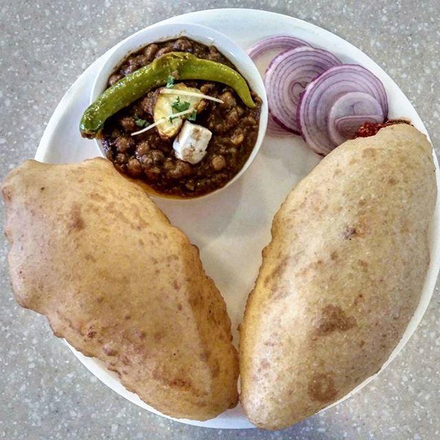 """Chhole Bhature"" (₹110) - Delhiites love this popular punjabi cuisine and we double love it 😍. बस एक और खाने का मन कर जाता है। We had it at @bikanervala and it was DELICIOUS 😋. . #DilSeBhukkad #Punjabi #Cuisine #Chhole #Bhature #DoubleLove #Delicious #Bikanervala #RajouriGarden #NewDelhi #Delhi"
