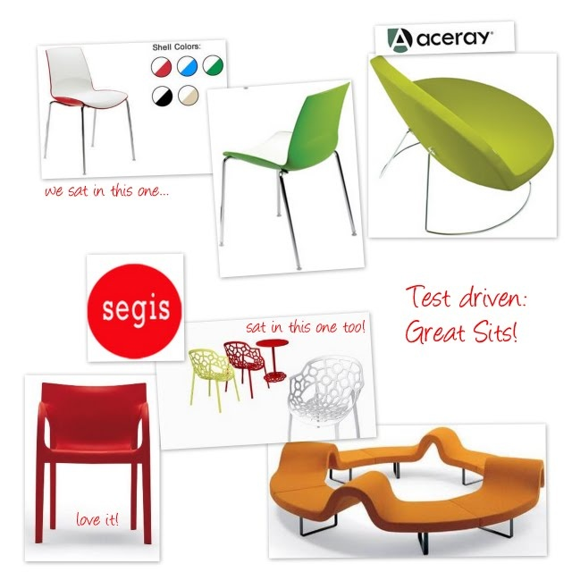 [ Great Sits ]  Hello Tuesday!    What are YOU sitting on right now?    We recently had the pleasure of test driving a few chairs....soooo nice!    Our fantastic rep, Rena Forest from Forest Associates brought some by.    We sat in Aceray and Segis pieces.... and we did not want to get UP!