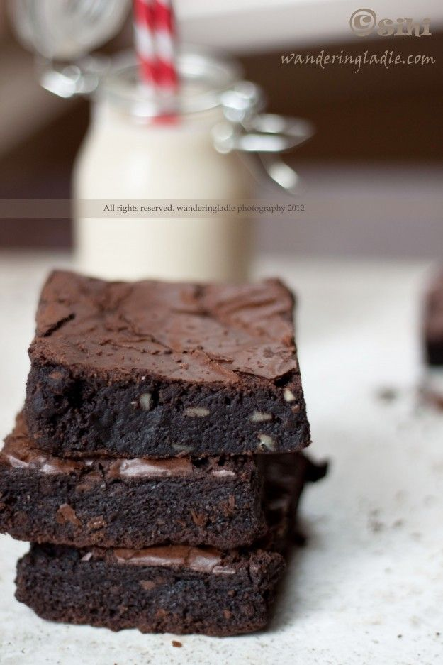 Vegan and Gluten Free Chocolate Brownies with Walnuts. Obviously this is still a sweet treat but healthier than most brownies.