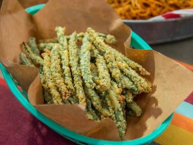 Get Baked Parm Green Bean Fries Recipe from Food Network  spritz with lemon juice before serving try egg white and no salt