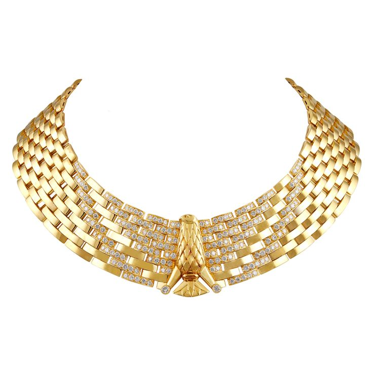 CARTIER Egyptian Revival Diamond Gold Eagle Necklace | From a unique collection of vintage choker necklaces at http://www.1stdibs.com/jewelry/necklaces/choker-necklaces/