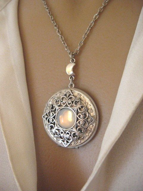Moon LOCKET Silver Locket Necklace Silver Moon by CharmedValley, $29.00