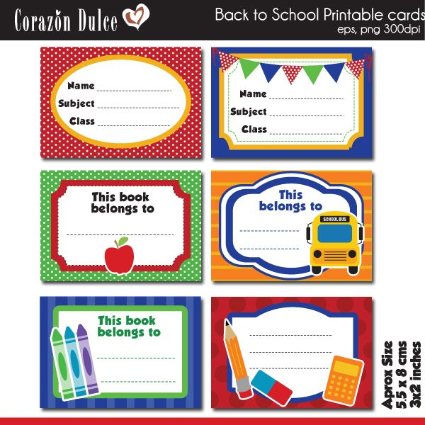 Printable Back To School Cards $2.70 #labels #print
