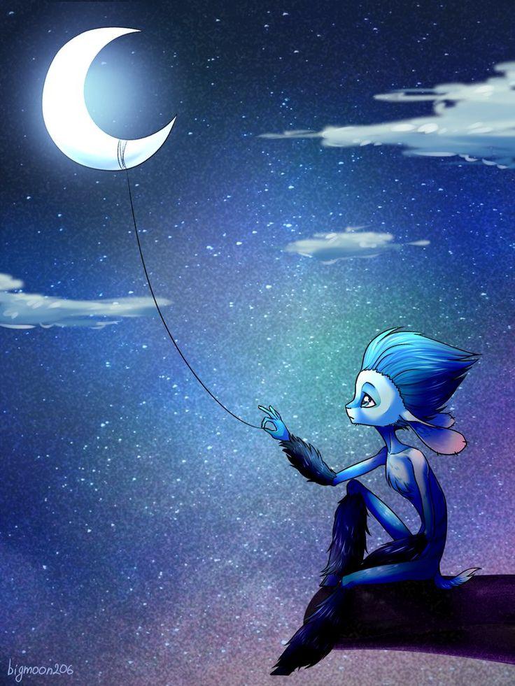 Fr voici un dessin inspir de mune le petit faune bleu - Dessin de lune ...