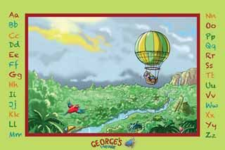 Be swooped into a marvellous land along with George on his hot air balloon and enjoy the festive colours of the Amazon Jungle. Posted printed on linen adhesive so its peel and stick!