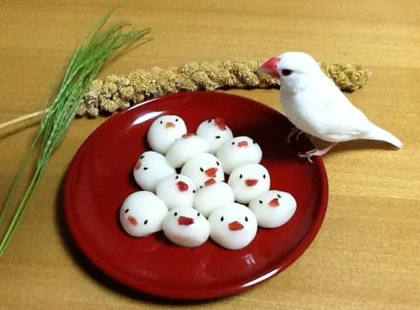 Hi birdies...! bird shaped dumplings. ;) RT もうすぐお月見。文鳥団子。 #buncho #ふぃんち