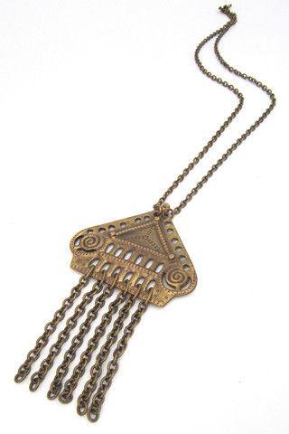 Kalevala Koru, Finland vintage bronze huge fringe pendant necklace