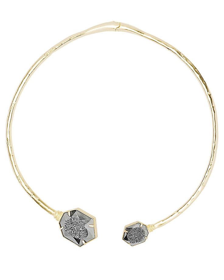 Coursen Hinge Necklace in Platinum Window Drusy - Kendra Scott Jewelry.