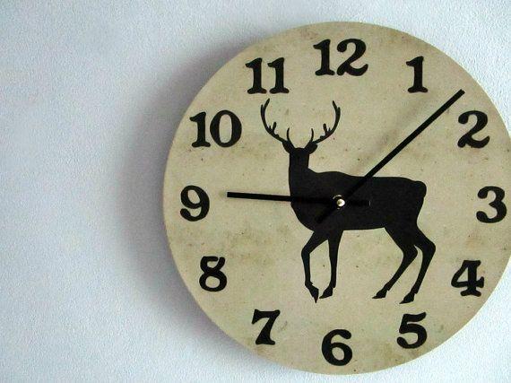 Deer Wall Clock Rustic Wall Clock Woodland Wall Clock