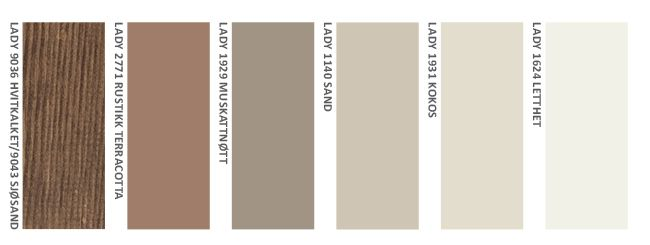 En dempet gråbrun beis med brente terrakotta- og bruntoner  9036 Hvitkalket / 9043 Sjøsand (kombinasjonsfarge) + 2771 Rustikk Terracotta + 1929 Muskatnøtt + 1140 Sand + 1931 Kokos + 1624 Letthet