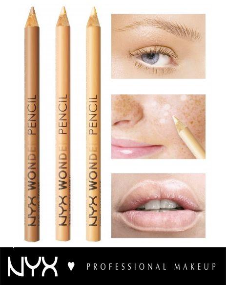 Με το NYX Wonder Pencil μπορούμε με ένα προϊόν να καλύψουμε 3 ανάγκες του μακιγιάζ μας! 1. Φωτίζουμε τα μάτια ώστε να φαίνονται πιο μεγάλα και ζωντανά. 2. Καλύπτουμε τυχόν ατέλειες. 3. Σχηματίζουμε το περίγραμμα των χειλιών και εμποδίζουμε το κραγιόν μας να τρέξει. Διαθέσιμο σε 3 αποχρώσεις: Light, Medium και Deep.