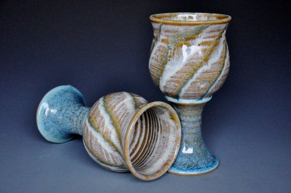 River Stone Goblet Pottery Chalice Ceramic Cup.  Darshan Pottery