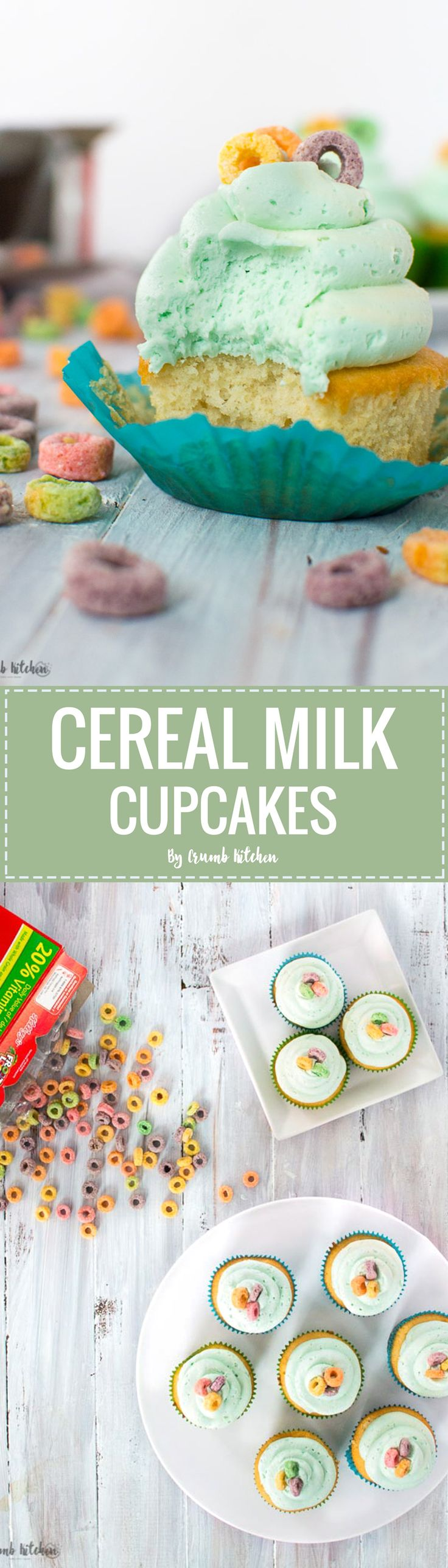 These Cereal Milk Cupcakes combine the sweet and salty taste of cereal milk with fluffy vanilla cake and the perfect buttercream frosting. | Crumb Kitchen