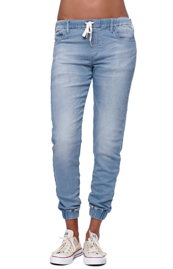 "The women's Jogger Jeans by Bullhead Denim Co for PacSun and PacSun.com offer a distressed look and relaxed fit. Jogger jeans for women are a huge trend right now so stock up while you can! These have a comfortable drawstring waistband and elastic hems. Wear these jeans with our basic t-shirts and sandals! High rise 10"" rise 19"" inseam Measured from a size small Model is wearing a small Her measurements: Height: 5'9.5"" Bust: 32"" Waist: 25.5"" Hips:"