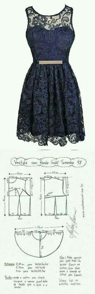 Patrón vestido de encaje