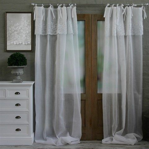 Biggie Best Ready Made White Anglaise Curtain