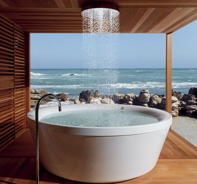 KOS Geo 180 Bath... hand selected western red cedar is reborn into this tranquil, sturdy bath house designed and crafted to exacting specifications by Italian artisans.