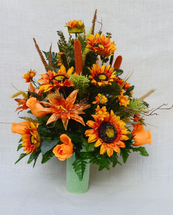 No.FC901 Fall Cemetery Arrangement. , Autumn Cone Flower, Cone Arrangement,Grave, Tombstone arrangement, Cemetery flowers. +++++  Cherish the memories of your loved one with one of our Cemetery Cone Arrangements of roses, sun flowers. It is an elegant way to honor your loved one. This cone flower arrangement can be fitted to any sized of vase and it can remain in place for extended periods of time.    +++++  Material: Artificial Silk  +++++  For more floral arrangements and more, please…