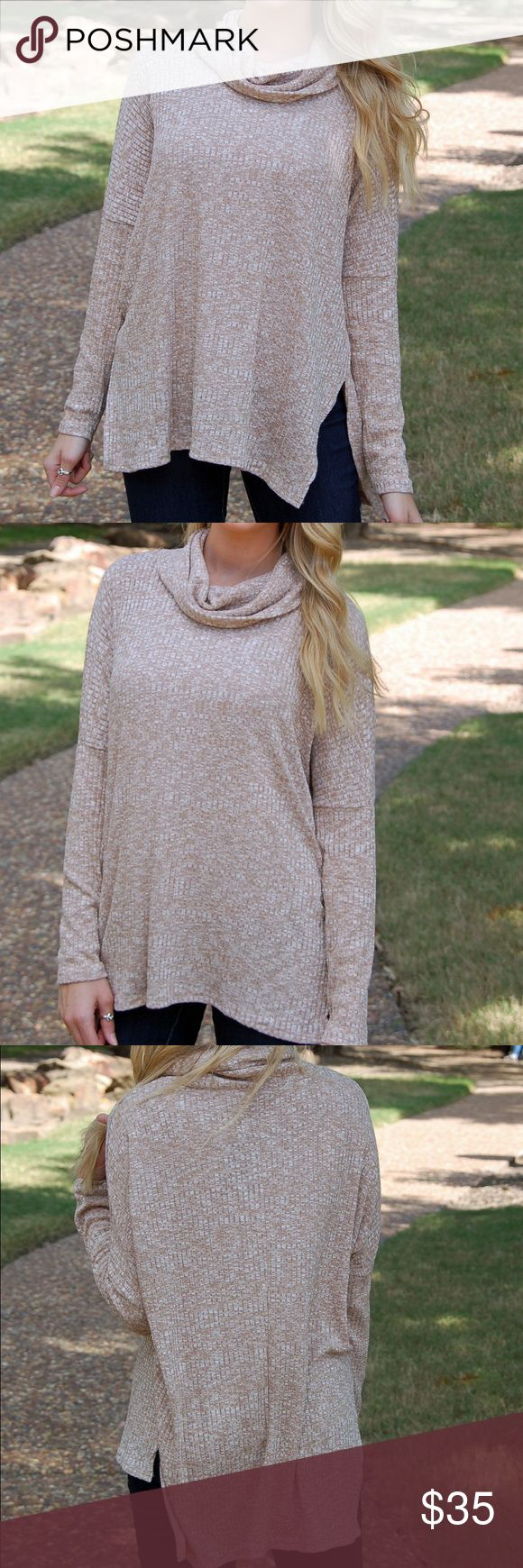 Super Comfy Beige White Cowl Neck Top This amazingly comfortable and lightweight slouchy top pairs perfectly with leggings and boots! Runs true to size for an oversized fit and model is wearing size small! Also available in navy in my closet! Paperback Boutique Tops