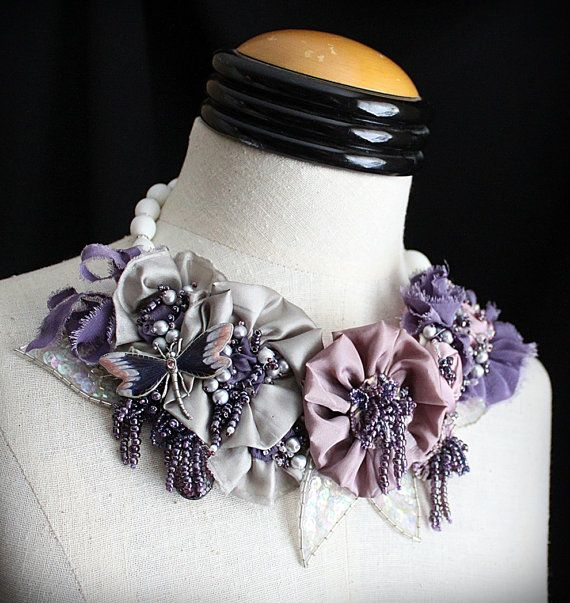 LAVENDER FIELDS Lavender Beaded Textile Statement Necklace. $345.00, via Etsy.