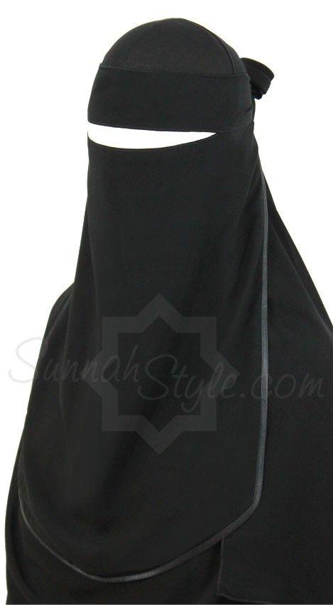 1 layer niqaab with satin trim Sunnahstyle - Hijab Now