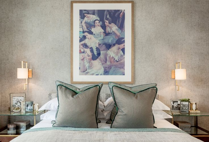 Adding elegance and refinement to the design, we added these exquisite, bespoke bedside tables by Julian Chichester and luxuriously rich texture with these James Hare fabric cushions.