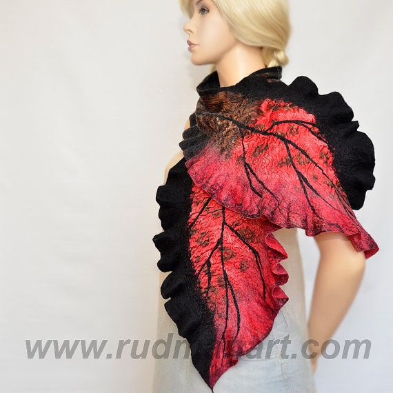Red and Black Felted Scarf Wool and Silk Scarf Hand by RudmanArt, $139.00