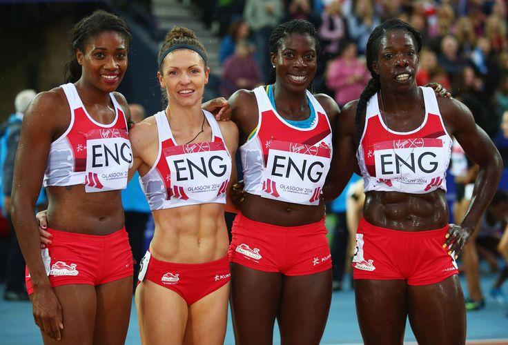 (L-R) Shana Cox, Kelly Massey, Christine Ohuruogu and Anyika Onuora of England