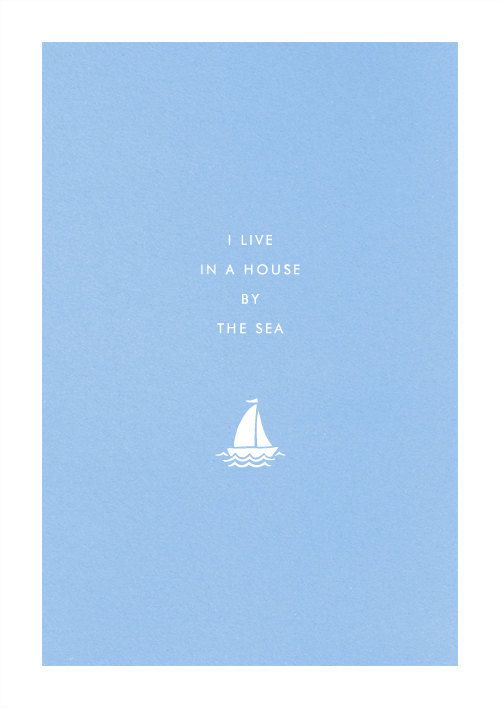 Seaside Sailboat poster art print illustration home typography sail boat yacht. $19.00, via Etsy.