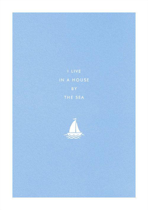 Seaside Sailboat poster art print illustration home typography sail boat yacht. $19.00, via Etsy.