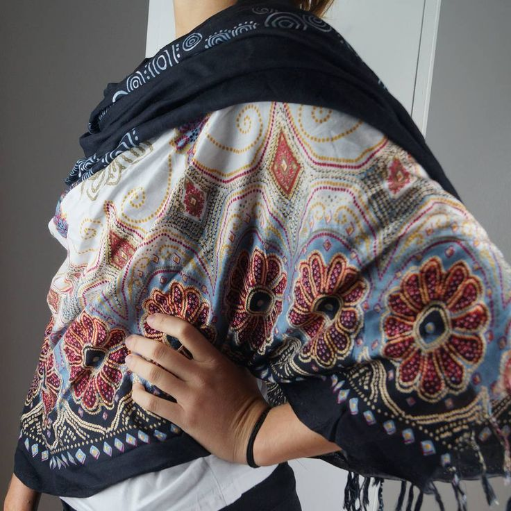 Wide fringed scarf sarong for winter and summer styling. Black with ethnic floral motives.