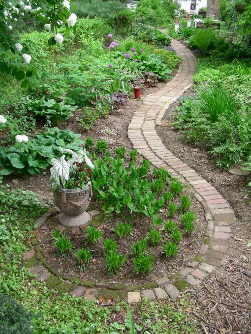 The Recycled Brick Path Makes Use Of Broken Pieces To Help Decrease Its  Width And Terminate