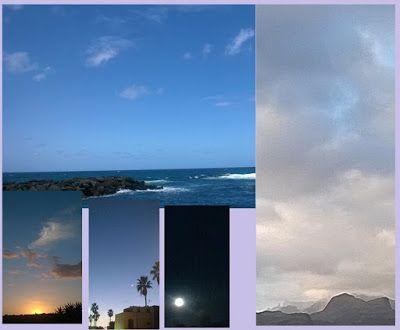Puente al despertar  Cielo de marzo 2016 empezando con la puesta de sol en principio de mes, luna creciente, luna llena, cielo y mar en Las Palmas y el cielo al final del mes con el Roque Nublo