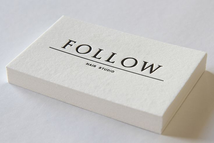 These beautiful black and white business cards have just been printed for the team at Follow Hair Studio. The cards feature a double sided print on the 300gsm cotton stock. - The Letterpress Studio