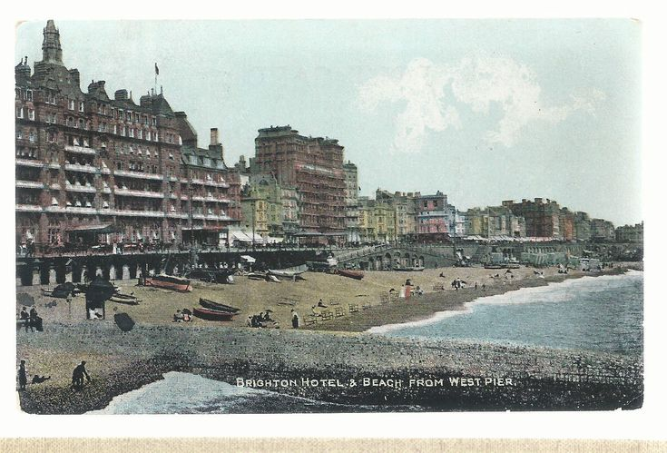 Brighton Hotels and Beach From West Pier Postmarked 1910 Postcard 5293 | eBay