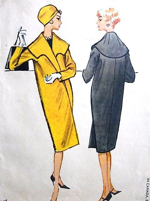 1950s ELEGANT Slim Clutch Coat Pattern McCalls 4853 Lux Cape Collar Perfect Day or Evening Bust 34 Vintage Sewing Pattern UNCUT