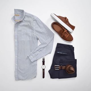 """Styles of Man on Instagram: """"Humpday stripes for a (finally) sunny day 🌞 ———BRANDS——— Shirt: @niftygenius Chinos: @bonobos Sneakers: @beckettsimonon Watch: @bottadesign…"""""""