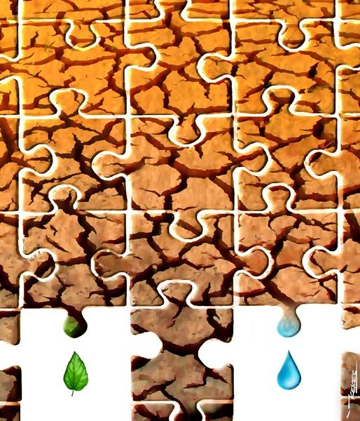 Drought Puzzle, acrylic on canvas, 60 x 70 cm, 2013, By Kessusanto Liusvia