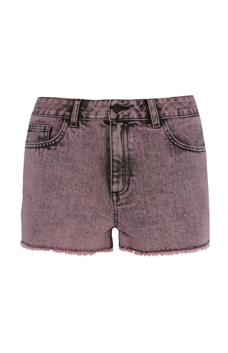 Roze gebleekte short met hoge taille