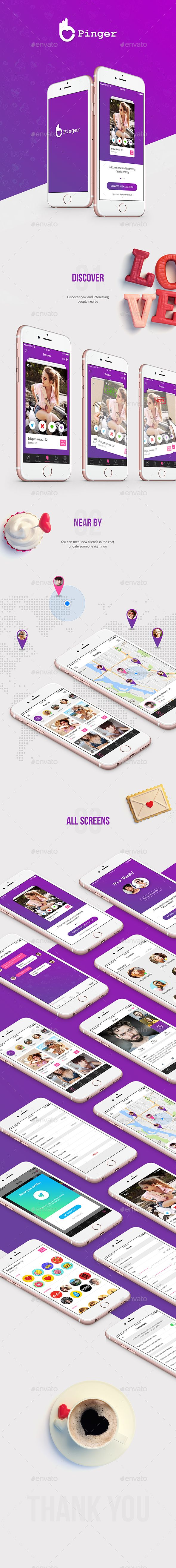Pinger - Dating #UI Kit - #User Interfaces #Web Elements Download here: https://graphicriver.net/item/pinger-dating-ui-kit/19720119?ref=alena994