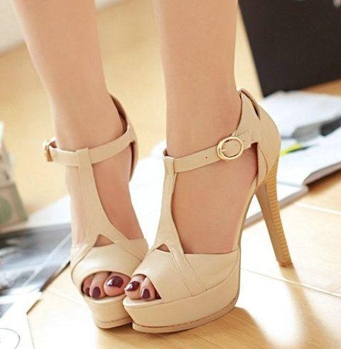 Grátis frete New Arrivals T com tira no tornozelo High Heel bombas sandálias #809 eua 4 11 senhoras Womens Shoes em Sandálias de Sapatos no AliExpress.com | Alibaba Group