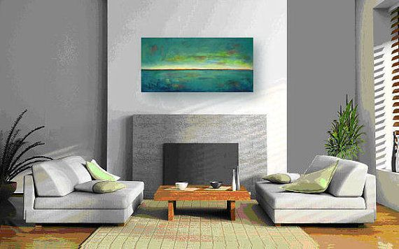 TURQUOISE Art Abstract Expressionist Contemporary Art door benwill