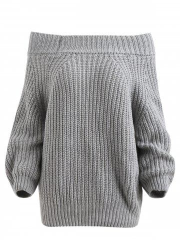 b56dfd71f3 Shop for 2018 Off The Shoulder Plain Sweater in LIGHT GRAY 2XL online at   28.05 and discover other cheap Sweaters   Cardigans at Rosegal.com Mobile