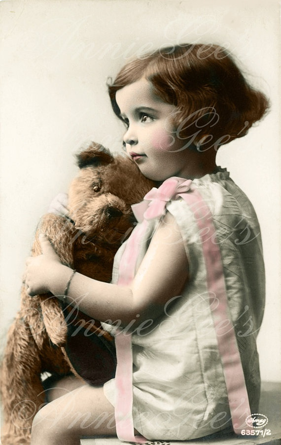 Cute Little Girl and Her Teddy Bear Hand Tinted Photo by AnnieGees, $3.50