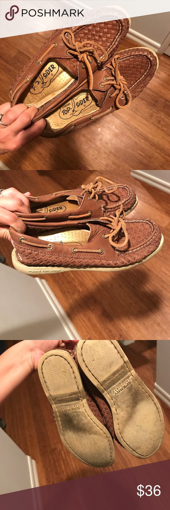 Braided leather Sperry's Tan leather braided Sperry's. Slightly worn. Very comfy Sperry Top-Sider Shoes Flats & Loafers