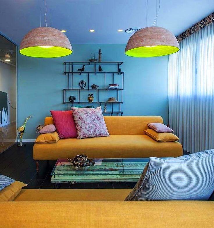 Notorius lights this colorful room apartment in Tel Aviv #madebypeople  #lightdesign #interiordesign #lights